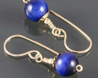 Blue TigerEye Earrings. Gold Filled Ear Wires. Bright Blue Earrings. Genuine Gemstone.