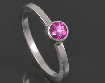 Pink Tourmaline Stacking Ring. Sterling Silver. October Birthstone. Choose Natural or Lab Gemstone. Made to Order.