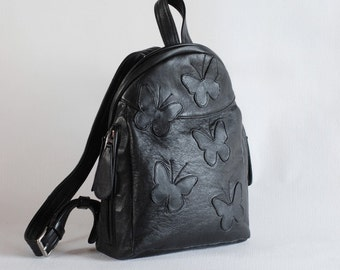 Black leather backpack with butterflies, upcycled leather