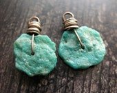 Raw Turquoise Hammered Wheel Bead Charms - 1 pair - 17mm Antiqued Sterling Silver Primitive Stone Charms