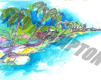 Digital Listing  Drawing of Belize 1983 - Card Making - Framing