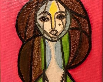 Pink Lady, Picasso study, oil painting 5x7 inches