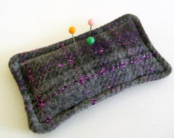 Plaid Grey Purple Wool Pincushion filled with walnut shells