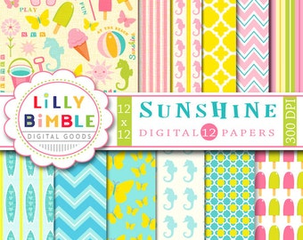 40% off SUNSHINE Beach digital paper with surfboards, seahorses, flip flops, ice cream Summer INSTANT DOWNLOAD