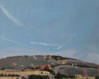 November Valley, Original Plein Air Landscape Painting on Panel, Stooshinoff
