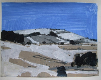 December Blue, Original Winter Landscape Collage Painting on Paper, Stooshinoff