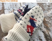 SALE- Ski Trip Mittens- Navy and White Mittens-Wool and Acrylic-Teen-Women