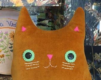 Cat Cushion: Handmade ginger velvet (Mr Ramsey Whiskers)