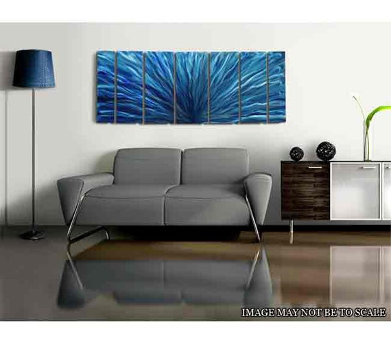 extra large modern metal wall art in blue aqua abstract. Black Bedroom Furniture Sets. Home Design Ideas