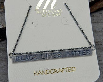 "Black Lives Matter Necklace, 18"", Pendant, Jewelry - Recycled Sterling Silver - 100% of Proceeds Benefit the Southern Poverty Law Center"