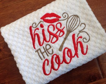 White waffle kitchen towel/Kiss The Cook