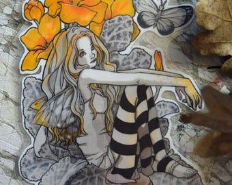 Bookmark - Laminated - Fairy - FaeryLand - Fantasy Art - Primroses Fairy - Anime Style - Cute