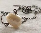 Single Pearl Necklace, Pearl Necklace, Pearl Choker Necklace, Layering Necklace, Oxidized Silver Necklace, Minimalist Necklace