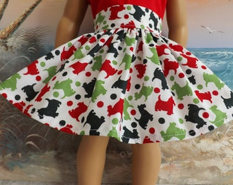 """18"""" Doll Clothes Christmas Holiday Skirt Green and Red Scotty Dogs Scotties Will Fit AG"""