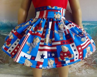 18 Inch Doll Skirt Red White and Blue USA Patriotic Bears Medley Very Gathered New Item May 2017
