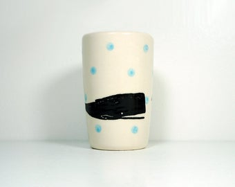 itty bitty cylinder / vase / cup with a Whale print on Sky Blue polkadots, Ready to Ship
