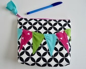 Zipper Pouch - Black and White Pouch - Make up bag - Cosmetic Pouch - Gift for Women - Gift for Teen Girls - Make up Pouch - Geometric Pouch