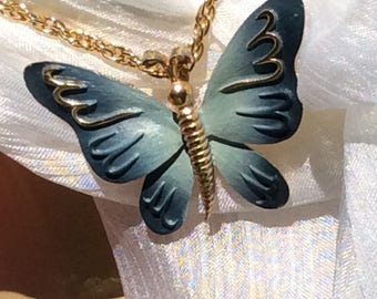 Vintage butterfly pendant Goldtone and blues