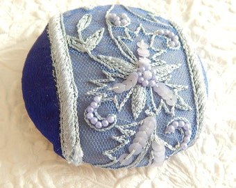 Indigo blue beaded embroidered  fabric covered button, size 100 button, 2.5 inches, 6.35 cm, 63.5mm