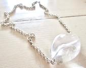 ICE Crystal Quartz - Wilma Flintstone ABACUS Necklace - Statement - Clear - Vintage Chain - Etsy Jewelry - catROCKS - Egg - rocks - Silver