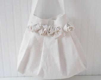 Pleated Linen Tote Hobo Shoulder Bag