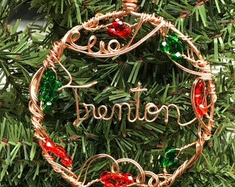 Personalized Name or Affirmation Copper Circle Wire Written Bead Accented Christmas Ornament