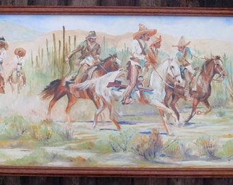 Vintage Original Acrylic Painting Mexican Cowboys Riding Horses Western Framed 15 x 30""