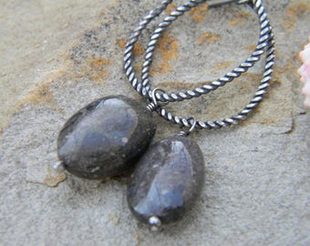 Boulder Opal Beads on Rustic twisted silver oval rings - Earrings