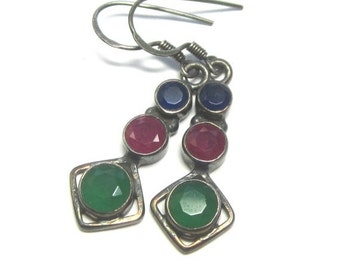 BlackFridaySale Precious Gemstone Earrings. Ruby, Emerald and Sapphire Earrings. Bezel Set Gemstone Earrings.