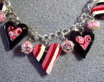 Valentine's Day Polymer Clay Resin Striped Kilmt Pink Black Heart Charm Bracelet Adjustable K7