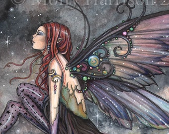 Fairy Art - Ready for Flight - Original Watercolor and Mixed Media Painting by Molly Harrison - Fantasy, Fairy, Fairies, Faery, Artwork