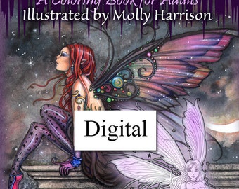Printable Digital Download - Fairyland - A Coloring  Book for Grownups by Molly Harrison - Flower Fairies, Celestial Fairies Fantasy Art