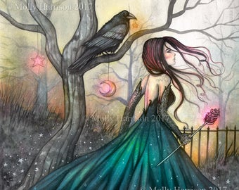 Original Painting - The Mystic - Woman and Crow - Fantasy, Wiccan, Wicca, Magick, Magic - Fairy art by Molly Harrison