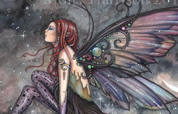Fairy Art - Ready for Flight - Original Watercolor and Mixed Media Painting by Molly Harrison - Fantasy, Fairy, Fairies, Faery, Artwork