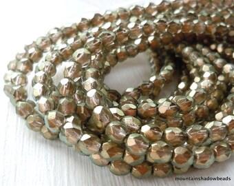 Czech 4mm Beads  - Halo Linen Czech Glass Beads Faceted Firepolished Round - 50 pcs