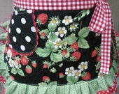 Womens Aprons - Strawberry Fabric Apron - Womens Half Aprons - Strwberry Fabric Aprons - Annies Attic Aprons - Handmade Aprons - Etsy Aprons