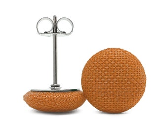 6 Shapes + Sizes! Surgical Steel Fabric Covered Button Stud Earrings - Rust Solid Colour - Round + Square