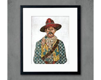 Cowboy with Cactus & Skull Detail Art Print