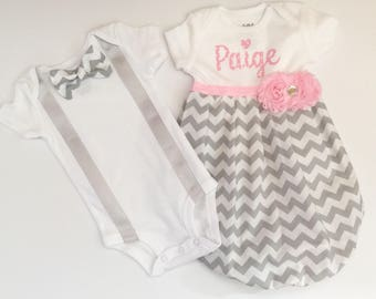 Brother Sister set... twins or big brother and little sister ... new baby... pink and grey