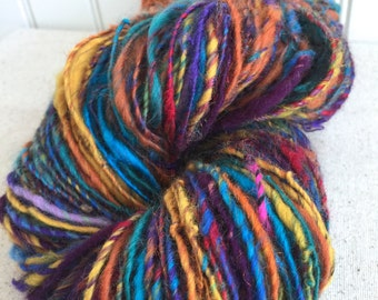 Art Yarn Handspun - Textured yarn - KALEIDOSCOPE - crochet, knit, weaving, weft yarn, craft supplies, doll hair, 160yds