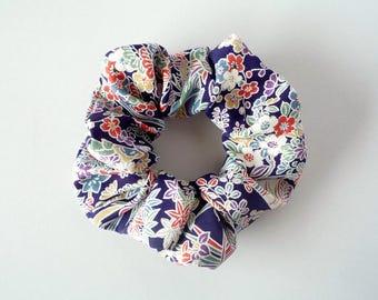 Kimono Hair Accessory, Flower Hair Tie, Japanese Ponytail Holder, Made in Japan, Ship from Japan, OOAK Handmade Elastic Navy Blue