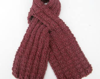 Hand knit Burgundy Scarf for Men or Women, Wool Ascot