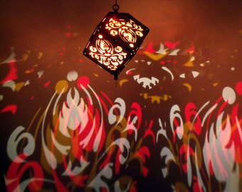 Flame Damask LED wooden pendant lantern