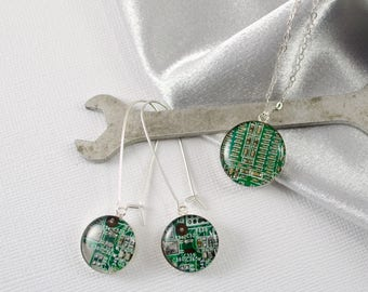 Circuit Board Necklace and Earring Set, Sterling Silver Jewelry, Wearable Technology, Engineer Reclaimed Jewelry, Eco Friendly Gift for Her