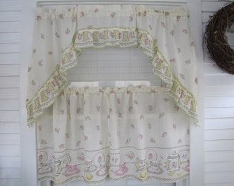 Teacups Cafe Curtain with Swag Valence Ivory