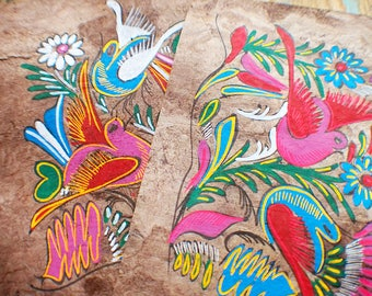 Antique Amate Bark Paintings - Mexican Folk Art // Memorial Sale - Save 25% - Coupon Code SAVE25