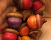 WARM Tones Solid Wood Acorns Lucky Acorn Color Stained 10 qty