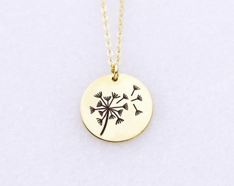 Dandelion Necklace, Gold Silver or Rose Gold Dandelion Jewelry, Make A Wish Necklace, Meaningful Gift Best Friends or Daughter Necklace