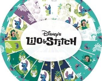 """NEW 42 piece Lilo and Stitch Disney Cotton Fabric Pre Cuts Stacker Layer Cake 10"""" x 10"""""""
