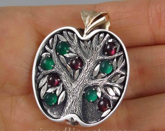 APPLE TREE silver / bronze pendant with Green Onyxes & Rhodolite Garnets - Tree of Life necklace - Ready to Ship